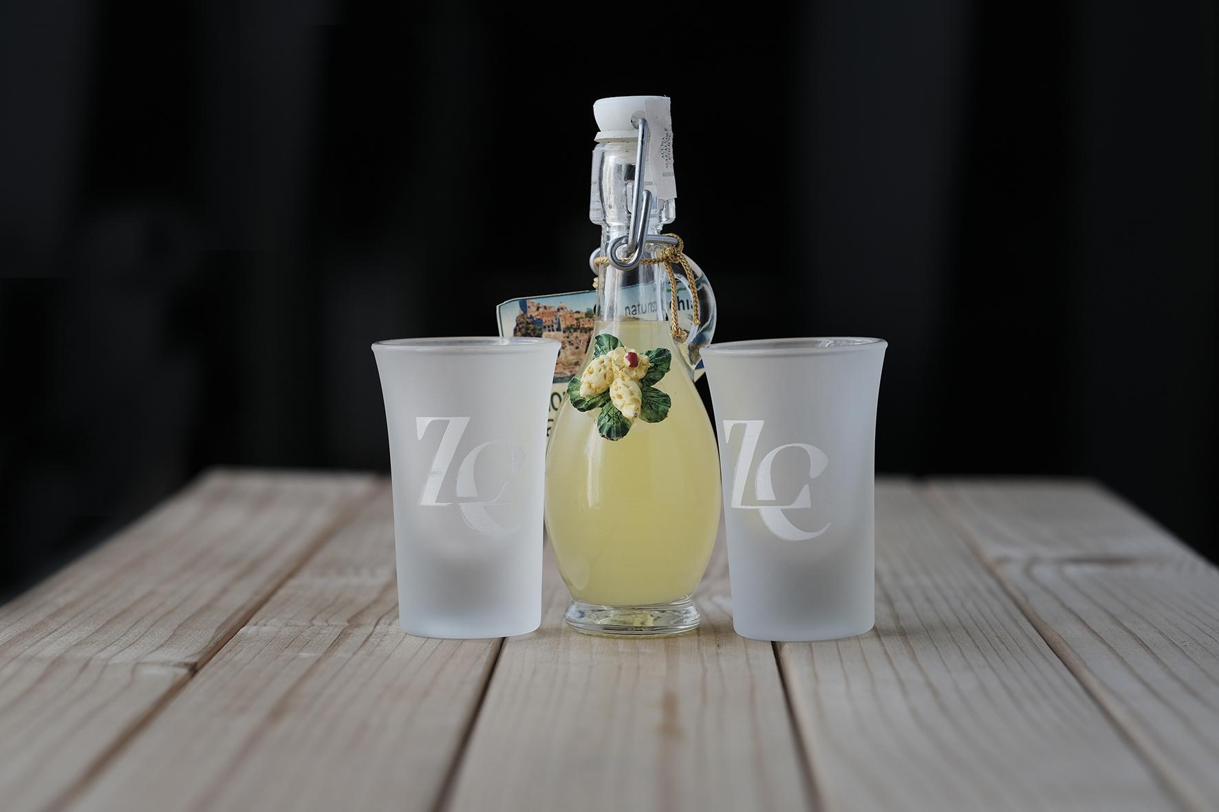 bomboniera alimentare limoncello ischitano con bicchieri