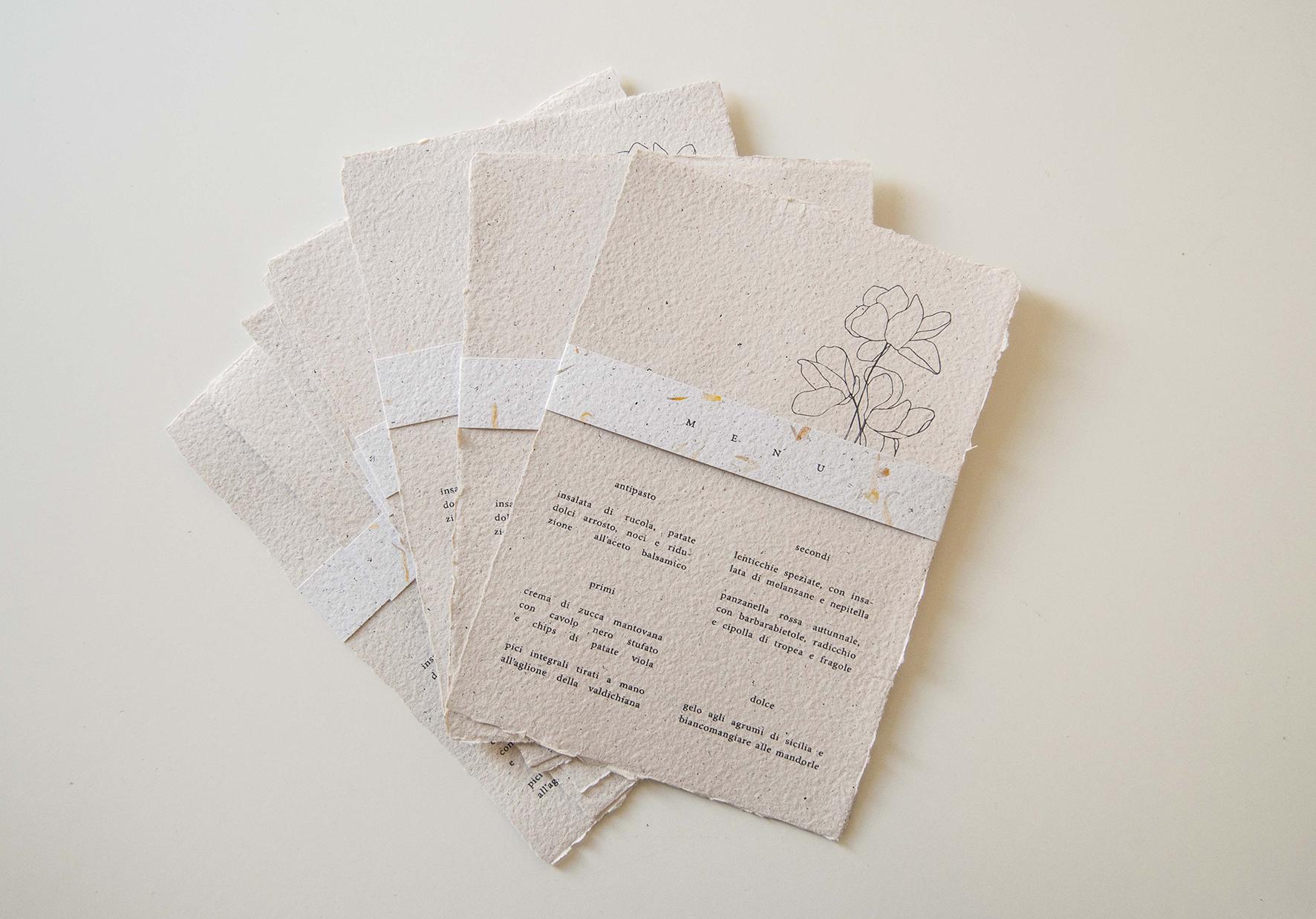 menu matrimonio carta riciclata