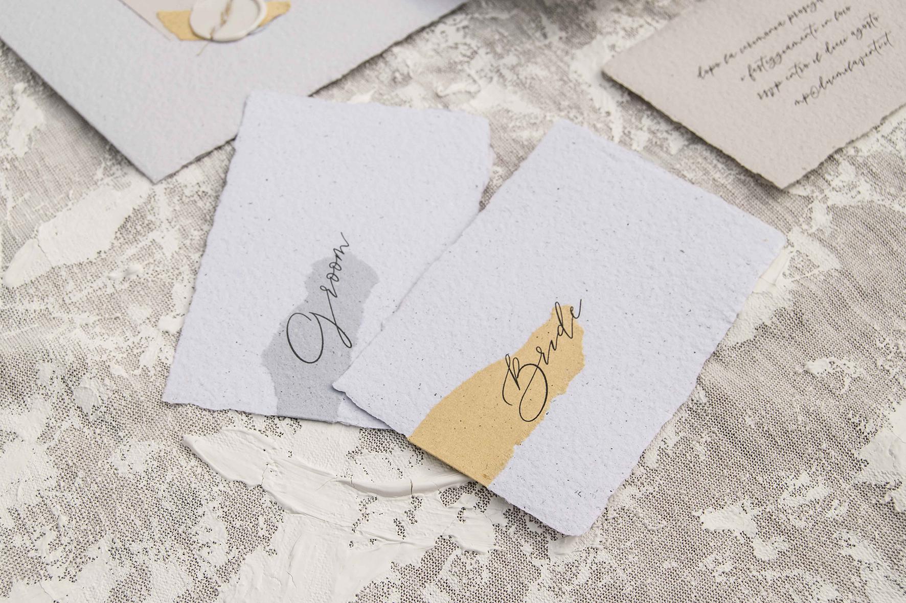segnaposto matrimonio in carta riciclata matrimonio green